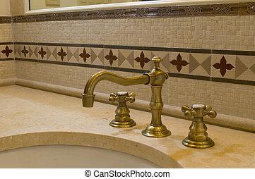 azulejo, detalle, grifo, cuarto de baño