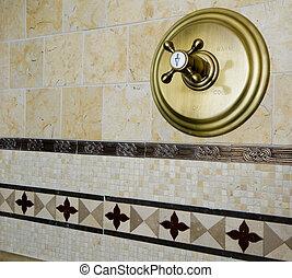 azulejo, ducha, detalle