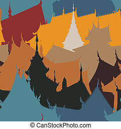 azulejo, edificios, budista