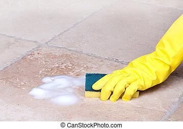 azulejo, esponja, limpieza