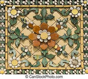 azulejo, floral, cerámico, viejo