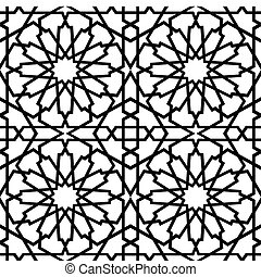 azulejo, islámico, bw, estrella