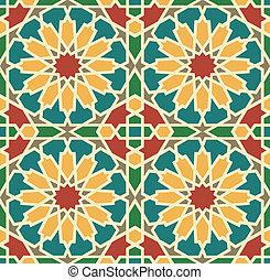 azulejo, islámico, estrella