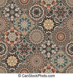 azulejo, marrón, boho, conjunto, flor
