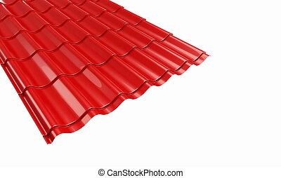 azulejo, metal, telhado, vermelho
