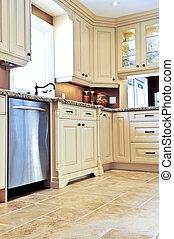 azulejo, moderno, cocina, piso