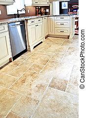 azulejo, moderno, piso, cocina