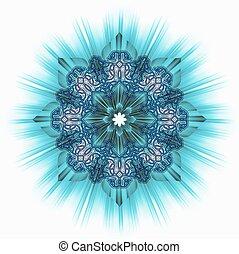azulejo, ornamental, turquesa, estrella