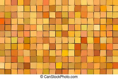 azulejo, padrão, abstratos, amarela, misturado, superfície, laranja, fundo