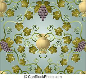 azulejo, padrão, uva, desenho