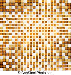 azulejo, pared, amarillo, mosaico
