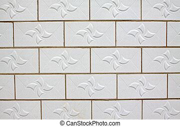 azulejo, pared, blanco, cerámico