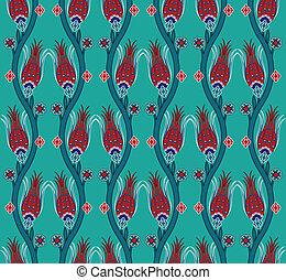 azulejo, patrón, seamless, turco