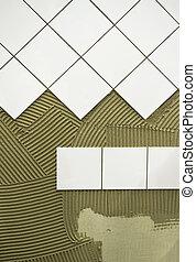 azulejo, pegamento, pared
