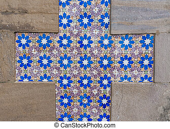 Azulejo portuguese ceramic tiles background.