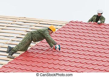 azulejo, techado, trabajo, metal