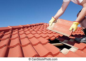 azulejo, telhado, construção, trabalhador, reparar