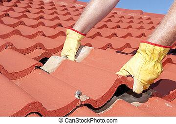 azulejo, telhado, trabalhador construção, reparos