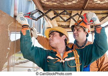 azulejo, trabalhador, fachada, instalação, construtores