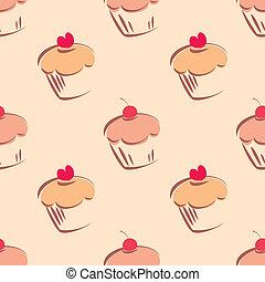 azulejo, vector, cupcake, patrón