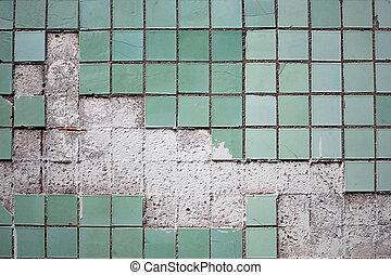 azulejo, viejo, pared, textura