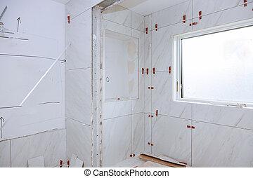 azulejos, aplicando, morteiro, espalhar, banheiro, molhados, antes de, tile.