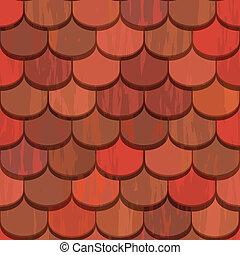 azulejos, arcilla, seamless, techo, rojo