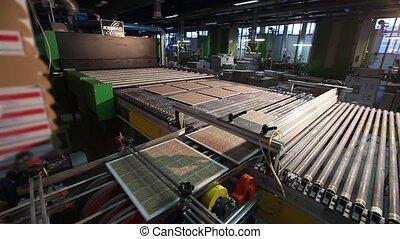 azulejos, cerámico, transportador, moderno, fábrica, producción, automatizado, línea, fábrica, azulejos