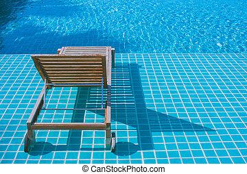 azulejos, conceito, daybed, madeira, resort., armando, mosaico, relaxamento, :, piscina, natação