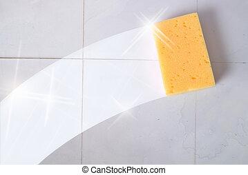 azulejos, concepto, rastro, pared, esponja, limpieza, sucio