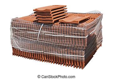 azulejos de techado, packaged., pila