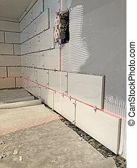 azulejos, laser, nivel, pared, instalación, utilizar