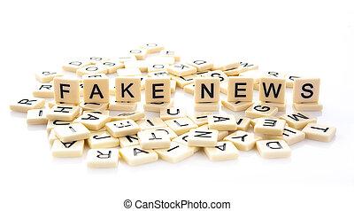 azulejos, palabra, deletreado, falsificación, noticias, afuera