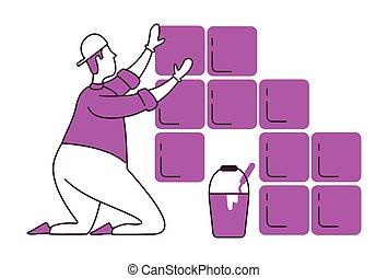 azulejos, plano, colocar, ilustración