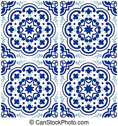 Floral and abstract shapes texture set, repetitive blue tile illustration inspired by traditional art from Portugal and Spain