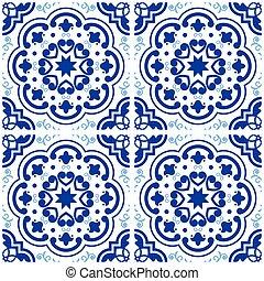 Azulejos Portuguese tile floor pattern, Lisbon seamless...