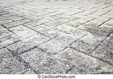 azulejos, pretas, chão