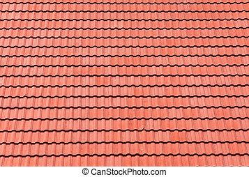 azulejos, techo, plano de fondo, rojo