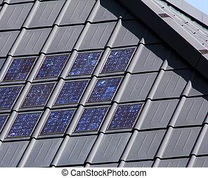 azulejos telhando, solar