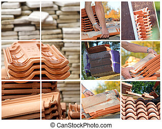 azulejos, terracota, mosaico, techo