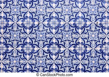 Azulejos - traditional Portugese tiles in Aveiro. Architecture ornament.