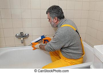 azulejos, trabajador, tubo, calafateo, baño