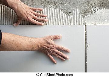 azulejos, trabajo, albañil, construcción, manos, hombre