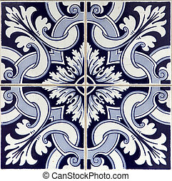 Traditional tiles (azulejos) from faacde of old hosue in Lisbon, Portugal
