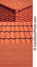 azulejos, vista, 3, telhado, vermelho