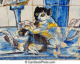 Typical Portuguese azulejos with musician cats