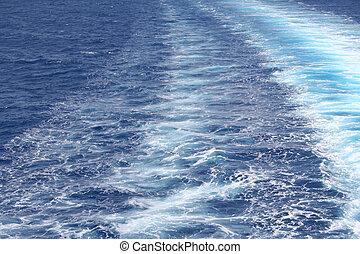 azur, agua de mar, superficie, con, onda, como, plano de...