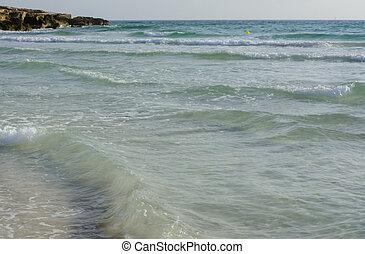 azur, agua, superficial, ondas