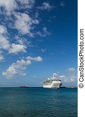 azur, blanc, bateau, mer, croisière