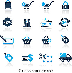 azur, compras, /, iconos